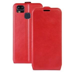 Чехол вертикальная книжка на силиконовой основе с отсеком для карт на магнитной защелке для Asus ZenFone 3 Zoom Красный