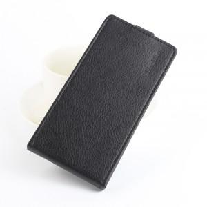 Чехол вертикальная книжка на силиконовой основе с отсеком для карт на магнитной защелке для Meizu M5 Черный