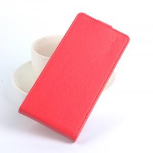 Чехол вертикальная книжка на силиконовой основе с отсеком для карт на магнитной защелке для Meizu M5 Красный