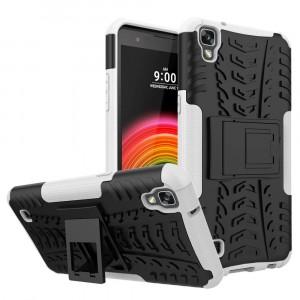 Двухкомпонентный силиконовый матовый непрозрачный чехол с поликарбонатными бампером и крышкой и встроенной ножкой-подставкой для LG X Power