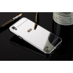 Двухкомпонентный чехол c металлическим бампером с поликарбонатной накладкой и зеркальным покрытием для LG X Power  Белый