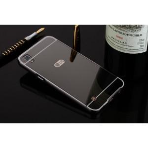 Двухкомпонентный чехол c металлическим бампером с поликарбонатной накладкой и зеркальным покрытием для LG X Power  Черный
