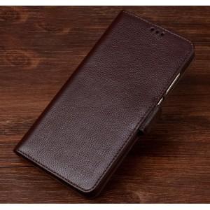 Кожаный чехол портмоне подставка (премиум нат. кожа) с крепежной застежкой для Nokia 3