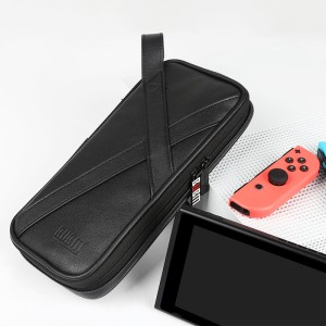 Кожаный мешок папка (иск. кожа) с отсеком для карт и ремешком на кисть на молнии для Nintendo Switch  Черный