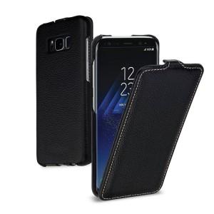 Кожаный чехол вертикальная книжка (премиум нат. кожа) для Samsung Galaxy S8  Черный