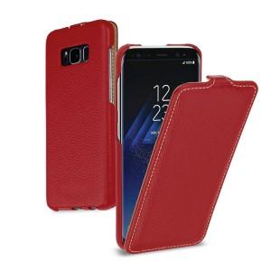 Кожаный чехол вертикальная книжка (премиум нат. кожа) для Samsung Galaxy S8  Красный