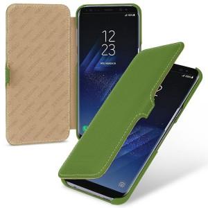 Кожаный чехол горизонтальная книжка (премиум нат. кожа) с крепежной застежкой для Samsung Galaxy S8