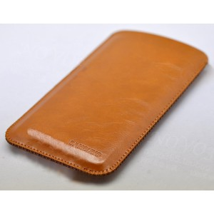 Кожаный вощеный мешок для Samsung Galaxy S8  Бежевый