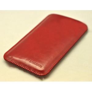 Кожаный вощеный мешок для Samsung Galaxy S8  Красный