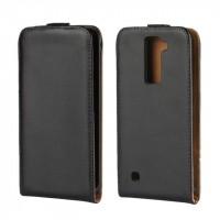 Чехол вертикальная книжка на пластиковой основе на магнитной защелке для LG K8 Черный