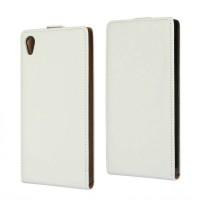 Чехол вертикальная книжка на пластиковой основе на магнитной защелке для Sony Xperia Z5 Белый