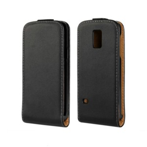Чехол вертикальная книжка на пластиковой основе на магнитной защелке для Samsung Galaxy S5 Mini Черный