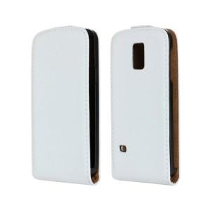Чехол вертикальная книжка на пластиковой основе на магнитной защелке для Samsung Galaxy S5 Mini Белый