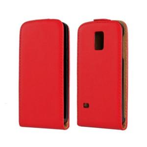 Чехол вертикальная книжка на пластиковой основе на магнитной защелке для Samsung Galaxy S5 Mini Красный