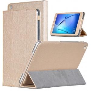Сегментарный чехол книжка подставка текстура Золото с рамочной защитой экрана для Huawei MediaPad T3 8  Бежевый