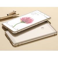 Металлический округлый премиум бампер сборного типа на винтах для Xiaomi Mi Max 2 Бежевый