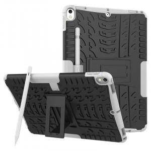 Противоударный двухкомпонентный силиконовый матовый непрозрачный чехол с нескользящими гранями и поликарбонатными вставками для экстрим защиты с встроенной ножкой-подставкой для Ipad Pro 10.5 Белый