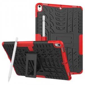 Противоударный двухкомпонентный силиконовый матовый непрозрачный чехол с нескользящими гранями и поликарбонатными вставками для экстрим защиты с встроенной ножкой-подставкой для Ipad Pro 10.5 Красный