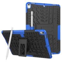 Противоударный двухкомпонентный силиконовый матовый непрозрачный чехол с нескользящими гранями и поликарбонатными вставками для экстрим защиты с встроенной ножкой-подставкой для Ipad Pro 10.5 Синий