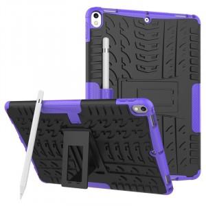 Противоударный двухкомпонентный силиконовый матовый непрозрачный чехол с нескользящими гранями и поликарбонатными вставками для экстрим защиты с встроенной ножкой-подставкой для Ipad Pro 10.5 Фиолетовый