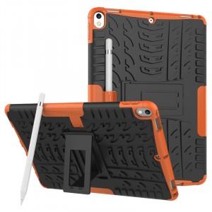 Противоударный двухкомпонентный силиконовый матовый непрозрачный чехол с нескользящими гранями и поликарбонатными вставками для экстрим защиты с встроенной ножкой-подставкой для Ipad Pro 10.5 Оранжевый