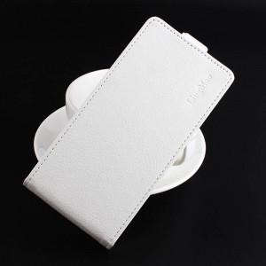 Чехол вертикальная книжка на силиконовой основе с отсеком для карт на магнитной защелке для Lenovo A2010 Белый