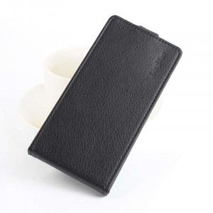 Чехол вертикальная книжка на пластиковой основе с отсеком для карт на магнитной защелке для Sony Xperia Z Черный