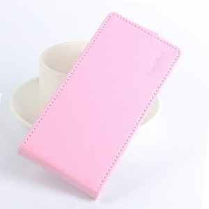 Чехол вертикальная книжка на силиконовой основе с отсеком для карт на магнитной защелке для Huawei Honor 6X Розовый