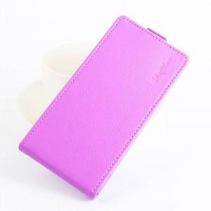 Чехол вертикальная книжка на силиконовой основе с отсеком для карт на магнитной защелке для Huawei Honor 6X Фиолетовый