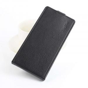 Чехол вертикальная книжка на силиконовой основе с отсеком для карт на магнитной защелке для Lenovo A536 Ideaphone Черный