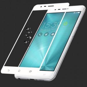 Полноэкранное ультратонкое износоустойчивое сколостойкое олеофобное защитное стекло-пленка для Asus ZenFone 3 Zoom Белый