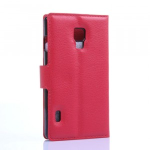 Чехол портмоне подставка на пластиковой основе с отсеком для карт на магнитной защелке для LG Optimus L7 2 II Красный