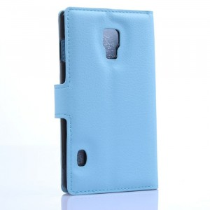 Чехол портмоне подставка на пластиковой основе с отсеком для карт на магнитной защелке для LG Optimus L7 2 II Голубой