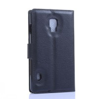 Чехол портмоне подставка на пластиковой основе с отсеком для карт на магнитной защелке для LG Optimus L7 2 II Черный