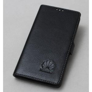 Кожаный чехол горизонтальная книжка подставка с крепежной застежкой для Huawei Honor 9 Черный