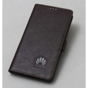 Кожаный чехол горизонтальная книжка подставка с крепежной застежкой для Huawei Honor 9 Коричневый