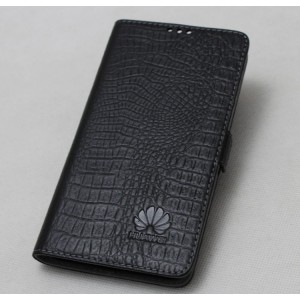 Кожаный чехол горизонтальная книжка подставка (нат. кожа крокодила) с крепежной застежкой для Huawei Honor 9 Черный