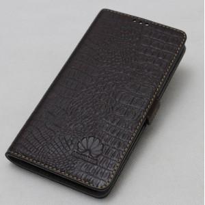 Кожаный чехол горизонтальная книжка подставка (нат. кожа крокодила) с крепежной застежкой для Huawei Honor 9 Коричневый