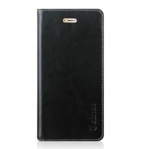 Вощеный чехол горизонтальная книжка подставка на силиконовй основе с отсеком для карт на присосках для Huawei Honor 9 Черный