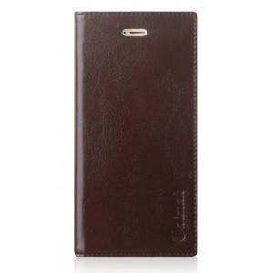 Вощеный чехол горизонтальная книжка подставка на силиконовй основе с отсеком для карт на присосках для Huawei Honor 9 Коричневый