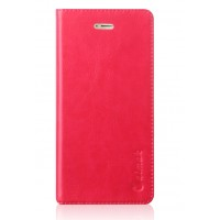 Вощеный чехол горизонтальная книжка подставка на силиконовй основе с отсеком для карт на присосках для Huawei Honor 9 Розовый