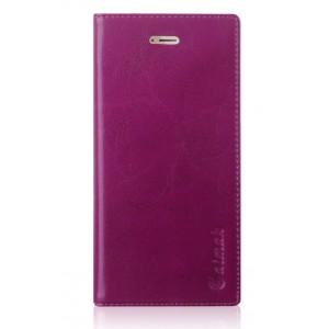 Вощеный чехол горизонтальная книжка подставка на силиконовй основе с отсеком для карт на присосках для Huawei Honor 9 Фиолетовый