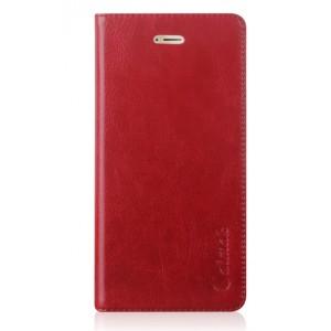 Вощеный чехол горизонтальная книжка подставка на силиконовй основе с отсеком для карт на присосках для Huawei Honor 9 Красный