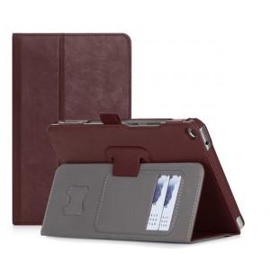 Чехол книжка подставка с рамочной защитой экрана, крепежом для стилуса, отсеком для карт и поддержкой кисти для Huawei MediaPad T3 8  Коричневый