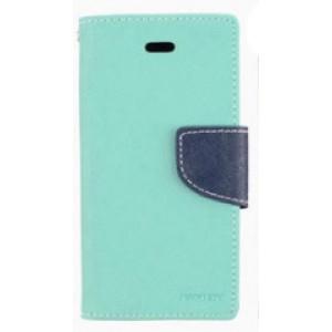 Чехол портмоне подставка на силиконовой основе с тканевым покрытием на дизайнерской магнитной защелке для HTC One X10  Голубой