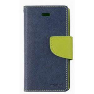 Чехол портмоне подставка на силиконовой основе с тканевым покрытием на дизайнерской магнитной защелке для HTC One X10  Синий