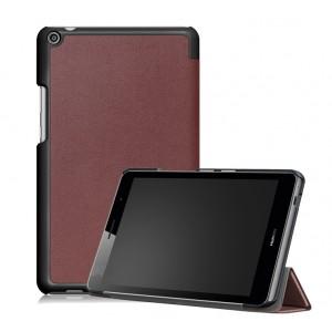 Сегментарный чехол книжка подставка на непрозрачной поликарбонатной основе для Huawei MediaPad T3 8 Коричневый