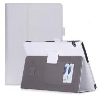 Чехол книжка подставка с рамочной защитой экрана, крепежом для стилуса, отсеком для карт и поддержкой кисти для Huawei MediaPad T3 10  Белый