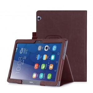 Чехол книжка подставка с рамочной защитой экрана, крепежом для стилуса, отсеком для карт и поддержкой кисти для Huawei MediaPad T3 10  Коричневый