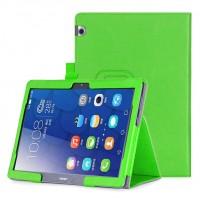 Чехол книжка подставка с рамочной защитой экрана, крепежом для стилуса, отсеком для карт и поддержкой кисти для Huawei MediaPad T3 10  Зеленый